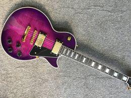 e-gitarren lp gewohnheit Rabatt Auf lager Neue Qualität Custom shop lila farbe lp E-gitarre Tiger streifen abdeckung 1959 R9 lp gitarre Freies verschiffen