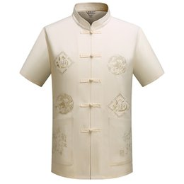 Argentina Collar de mandarina Kung Fu Tai Chi Uniforme Ropa tradicional de dragón chino Tang Suit Top Summer Cotton Linen Shirt Men cheap traditional clothe Suministro