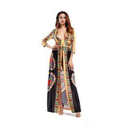Femmes d'été robes longues bohémiennes Deep V-cou Sexy robes imprimées numériques numériques longue robe ethnique Totem ? partir de fabricateur