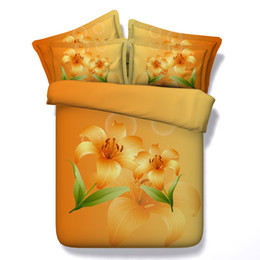 orangenblumen bettdecken Rabatt Gelbe Blumen Bettwäsche Set Blumen Schmetterling botanische Bettbezug Set Pflanze Bed Cover 3pcs Tröster Cover 2 Kissen Shams orange Bett