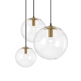 Abbigliamento cromato online-Sala da pranzo, bar, lampada, negozio di abbigliamento, lampadina, corda decorativa in vetro sferico Lampada a sospensione, lampada a sospensione sferica in vetro cromato