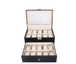 Canada Boîte à montres 24 Grille Montre en cuir Boîte à montres Fenestration Boîte à bijoux Collection Rangement Organisateur Boîte Offre