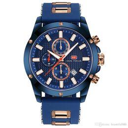 2019 mini silikon uhren MINI FOCUS Top-marke Luxus Chronograph Uhr Männer Quarz Sportuhren Armee Militär Silikonband Armbanduhr Männliche Blaue Uhr günstig mini silikon uhren