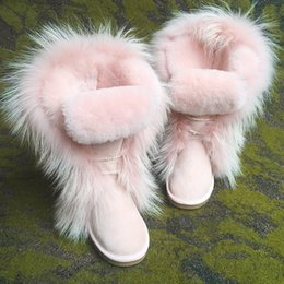 black leather pics Promo Codes - Hot Sale-Pink Fur Keep Warm Cotton Shoes Winter Boots Rubber Sole Flat Bottom Snow Boots Fashion Australia Women Real Pics