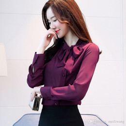 Langärmliges lila hemd online-neue bogen hals frauen kleidung frühling langärmelige chiffon frauen bluse shirt solide lila formale frauen tops blusas D304 30