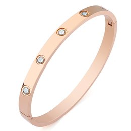 Zirconia cúbica brazalete conjuntos online-Nuevas pulseras abiertas para mujer con brazalete de circonio cúbico Brazalete de acero inoxidable chapado en oro IP Oro rosa