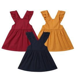 vestiti da partito di cotone per i più piccoli Sconti Neonati bambini Baby Girl Cotton Strap Ruffles Tutu Dress Toddler Girls Baby Summer Sleeveless Princess Party Dresses Sundress