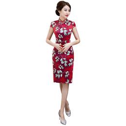 Argentina Shanghai Story Faux Silk Qipao Vestido tradicional chino Ropa de mujer china Hasta la rodilla Cheongsam 2019 Suministro