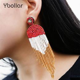 orecchini etnici di moda fatti a mano Sconti Perle di Boemia Seed nappa pendente di orecchini di goccia delle donne Handmade in rilievo lungo della frangia Stud orecchini monili etnici