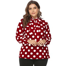 2019 pajarita para mujer Tallas grandes 6xl pajarita camisa manga lunares blusa mujer 4xl 5xl chemisier femme 2019 blusas y blusas para mujer Blusas rojas blancas rebajas pajarita para mujer