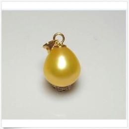 Ciondolo perle d'oro del mare del sud online-Beauty10-12mm Natural drop south sea pendenti con perle dorate 14k