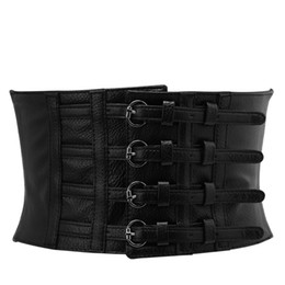 6db8b7861 wholesale Fashion Retro Lady Waist Shape Corset Wide Elastic Faux Leather  Black Belt Stretch Waistband New