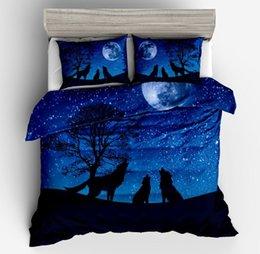 Conjuntos de cama de lobo solitário, algodão dos desenhos animados DurableSoft adolescentes crianças capa de edredão Set, fronha de capa de edredão de verão com fecho de correr de