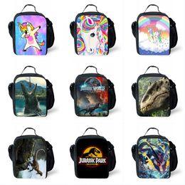 Sacchetti per animali online-Sacchetto di pranzo stampato animale Unicorno Dinosaur Studente Lunch Cooler Bag Animal Cooler Studente Sacchetto del pasto degli studenti