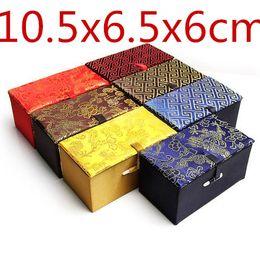 Scatola di imballaggio del regalo di seta del contenitore di regalo di seta cinese di rettangolo molle Contenitore all'ingrosso di immagazzinaggio dei gioielli dei mestieri all'ingrosso 10.5x6.5x6cm 4pcs / lot da