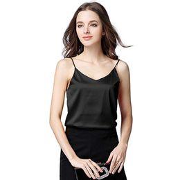 3bf5266094fcc3 2019 New Spring Summer Top Women Sexy Silk Ladies Camisole Bottom Blouse  Shirt Soft Satin Tank Top Crop Haut Femme discount sexy silk blouses