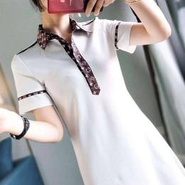 denim vestido de colarinho branco Desconto Moda feminina designer polo dress mulheres mangas curtas turn-down collar carta imprimir polo verão ladies dress