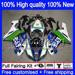 2019 kit corpo branco kawasaki zx6r Corpo + 8Gifts para a Kawasaki ZX 6R 6 R 600cc ZX636 2007 2008 209MY.0 ZX636 ZX600 600 ZX6R 07 08 ZX 636 ZX6R 07 08 carenagens kit azul branco Nova kit corpo branco kawasaki zx6r barato