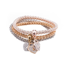 wholesale diamond keys Promo Codes - 3PCS SET Charm Bracelet 18K Gold Heart Key Bracelet Diamond Crystal from Swarovski Jewelry Gifts America Style Glorious BlingBling Glowing