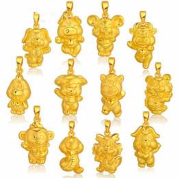 goldhuhnanhänger Rabatt 3D-Hartgoldschmuck, zwölf Tierkreisanhänger, Goldhähne, Tiger, Schlangen, Schafe, Affen, Hühner, Hunde und Schweine.