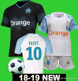 2019 camisas feitas sob encomenda dos miúdos 2018 2019 camisa de futebol de Marselha PAYET # 10 Marselha L.GUSTAVO # 19 TAAVIN # 26 Marselha Camisa de Futebol Personalizado homem Crianças Kits desconto camisas feitas sob encomenda dos miúdos