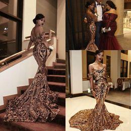 Off ombro sereia preto vestidos de noite on-line-2019 New Luxury Gold preto Prom Vestidos Sereia off ombro Sexy Africano Prom Vestidos Vestidos Ocasião Especial Vestidos de Desgaste da Noite