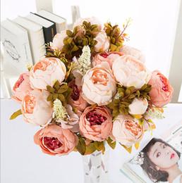 Canada 13 Têtes Style Européen Faux Artificielle Pivoine Soie Décorative Parti Fleurs Pour La Maison Hôtel Mariage Bureau Jardin Décoration Offre