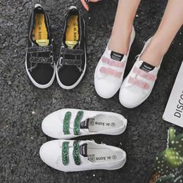 2019 zapatos planos blancos bling Verano al aire libre, para mujer, gancho, lazo, boca baja, zapatos individuales, pisos, punta redonda, diseño brillante antideslizante, zapatos transpirables blancos zapatos planos blancos bling baratos