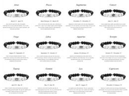 Ювелирные изделия из девственницы онлайн-Бесплатная доставка классический 12 Созвездие браслеты из бисера Дева Козерог Лев Овен Лаки бусины пара браслет мужчины женщины ювелирные расстояние M406F