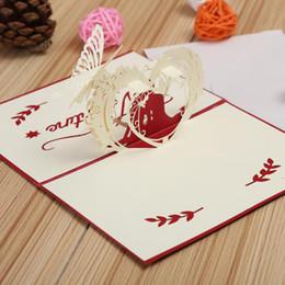 corte do laser do natal cartões Desconto 3D Pop Up Cartões Com Envelope Laser Cut Cartão Postal Para O Aniversário de Natal Dos Namorados 'Day Party Wedding Decoration