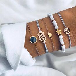 Lederkarten online-Mehrschichtiges Armband Set 5 Teile / satz Schildkröte Herz Karte Ananas Perle Ketten Armbänder Bekleidungszubehör Lederarmband Set