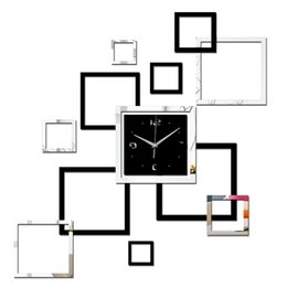 Adesivi per la decorazione degli specchi online-2019 Soggiorno Orologio da parete nuovo Orologio fai da te 3d Home Decoration Orologio Horloge Murale Quarzo Adesivi specchio acrilico