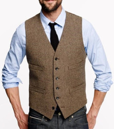 breast vest Coupons - Fashion Brown tweed Vests Wool Herringbone British style Custom made Mens suit Waistcoat Single Breasted wedding suits for men TV001