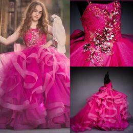арабская милая девушка Скидка 2020 Красивые бальное платье Фуксия девушки Pageant платья Маленькие младенца девушки цветка платья с бисером цветок девочки платья