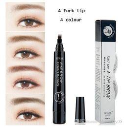 2019 lápiz corrector impermeable 4 Micro Tenedor punta tatuaje de la ceja Pen Fine Bosquejo Liquid pluma de la ceja del tatuaje impermeable Durable maquillaje Henna Eye Brow Pencil