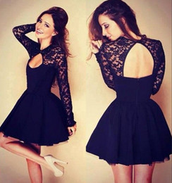 2019 vestidos de vestidos amarelos brilhantes Sexy Halter Manga Longa Curto Homecoming Vestido de Renda Top Camadas de Tule Saia Vestidos de Cocktail Curto Prom Vestido Little Black Party Dress
