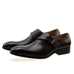 Argentina Zapatos de vestir de los hombres de diseño Cuero genuino Hebilla Monk Correa de los hombres de color marrón oscuro Partido de la oficina Zapatos formales cheap dark brown dress shoes for men Suministro