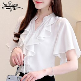 Женские белые блузки короткий рукав онлайн-Women Chiffon blouse 2019 women blouses short sleeve V-neck white chiffon blouse shirts womens tops and blouses 3780 50