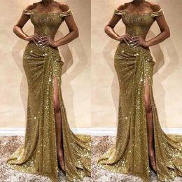 Bling Bling paillettes robes de bal divisées sirène de l'épaule robes de soirée à volants jupe haute fente fermeture à glissière jusqu'à la forme ? partir de fabricateur