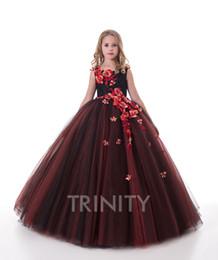 2019 desfile nacional vestidos chicas Pretty Rusty Negro bordado de la muchacha Vestidos Vestidos de niña de flores Días de fiesta / Cumpleaños Falda Princesa Falda Tamaño personalizado 2-14 F110140