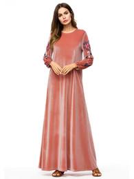 2019 bordados de cauda vermelha bordados As mulheres muçulmanas mangas compridas de veludo bordados Dubai vestido maxi abaya jalabiya mulheres islâmicas roupas robe kaftan de Marrocos 7251