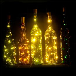 bottiglie di riciclaggio Sconti Ricicli le luci della bottiglia di vino Decorazione a batteria 15LEDS alimentata a batteria Bottiglia di liquore vuota fai-da-te, luci di stringa a LED di Natale