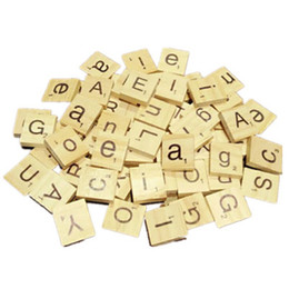 Yamalans 100Pcs English Letter Alphabet Wooden Cube Scrabble Kids Game DIY Handcraft Decors
