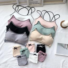 fe3de3778fc7 Chinese Women Bra Set Female Underwear Comfortable Wireless Lounge wear Black  White Cotton Bras Sets Lingerie