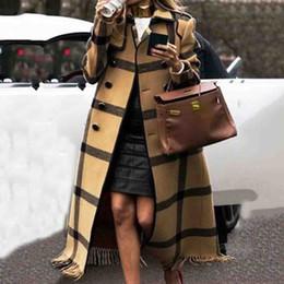 2020 abrigos largos británicos Caída de mezcla de lana retro de las mujeres del invierno cubre más el tamaño de abrigo amarillo británica Gráficos zanja larga señoras de la oficina abrigos 2019 rebajas abrigos largos británicos