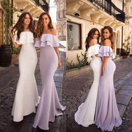 2019 vestidos de moda marfil El más nuevo vestido de dama de honor de gasa de Boho fuera del hombro sirena hasta el suelo boda de playa Invitado Vestido de dama de honor por encargo