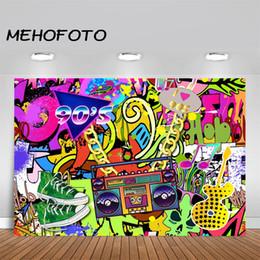 2019 fundo de grafite MEHOFOTO 90s Temático Backdrop Graffiti Hip Pop 90's Partido Fundo Nós Amamos A Festa Dos Anos 90 Bandeira Backdrops Decoração Suprimentos desconto fundo de grafite