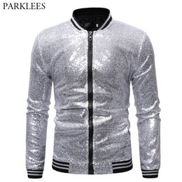 hip hop bomber jacket Promo Codes - Shiny Sliver Bling Bling Glitter Varsity Bomber Jacket Men Hip Hop Mens Baseball Jackets and Coats Club Disco DJ Prom Chaqueta