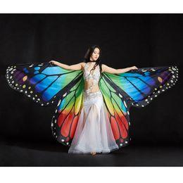 Платье для танцев бабочки онлайн-Ladies Adults Egypt Belly Dance Colorful Butterfly Angel Isis Wings Costume Wing Cosplay Fancy Dress Prop