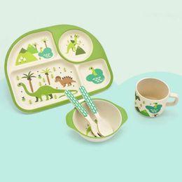 Bambus geschenkset online-Bambus Baby Gerichte Schüssel Tasse Teller Sets 5 teil / satz Sub-grid Cartoon Geschirr Kreatives Geschenk Für Säuglingskleinkind Kinder Geschirr